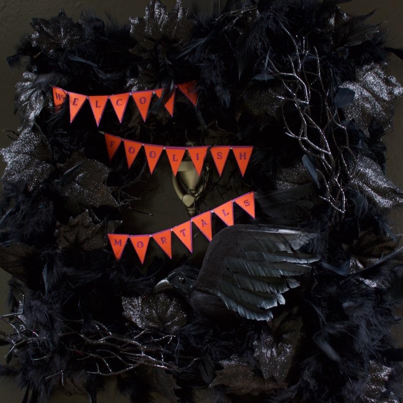 Welcome Foolish Mortals Halloween Wreath